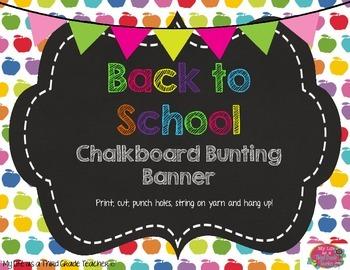 Back to School Chalkboard Bunting Banner