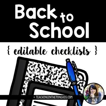 EDITABLE Back to School Checklists Free