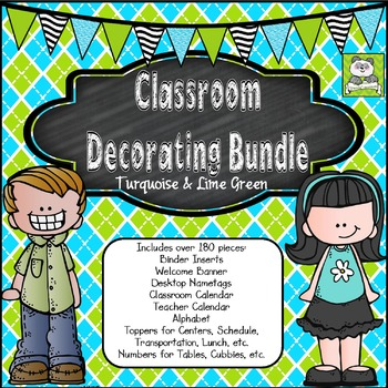 Classroom Decor Bundle (Turquoise and Lime)