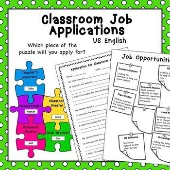 Free Back to School Classroom Jobs Application US