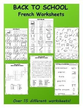 Back to School / La rentrée FRENCH Worksheets