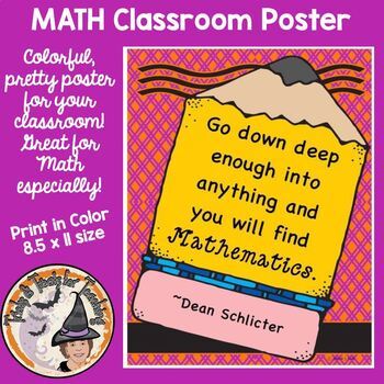 Back to School Classroom Poster Motivational Quote Mathema