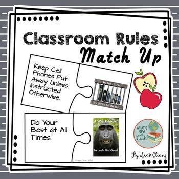 Back to School Classroom Rules Match Up Game