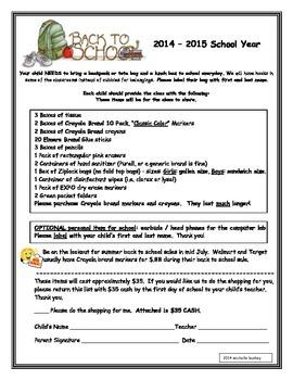 Back to School Classroom Supply List K-2