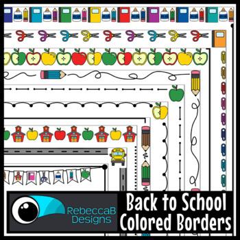 Back to School Borders Clip Art (Colored)