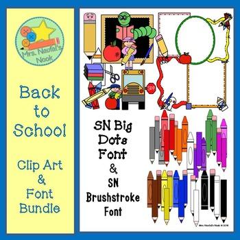 Back to School Clip Art & Font Bundle