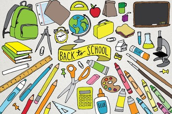 Back to School Clipart - Creative, Math, Books, School Ill
