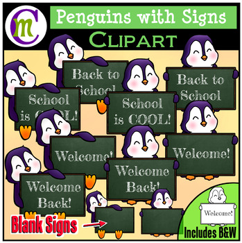 Back to School Clipart ♦ Penguin Signs