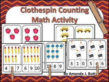 Back to School Clothespin Counting Math Cards; Kindergarte