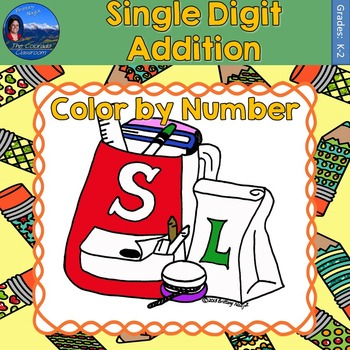 Single Digit Addition Math Practice Back to School Color b