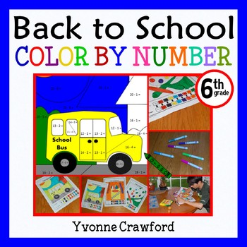 Back to School Color by Number (sixth grade) Color by Roun