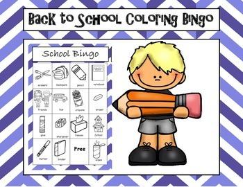 Back to School Words Coloring Bingo