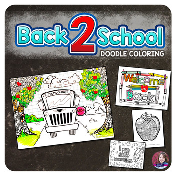 Back to School Doodle Coloring Sheets
