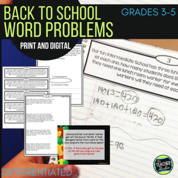 """Back to School"" Differentiated Word Problem Collection: G"