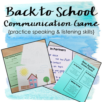 Back to School Communication Game - Speaking and Listening Skills