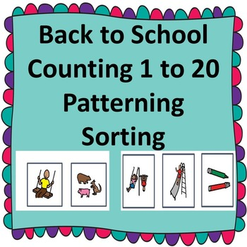 Pre- K Back to School Counting 1 to 20/Special Education/Autism