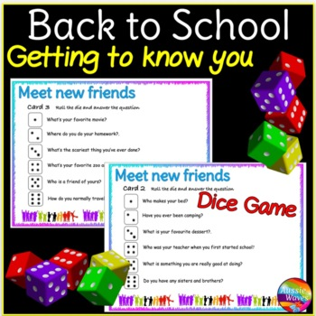Back to School DICE GAME First Week, Getting to Know You Game