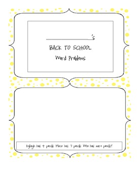 Back to School Daily Math Word Problems