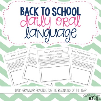 Back to School Daily Oral Language
