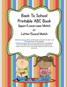 Back to School Letter Sound Matching Printable Book - Comm
