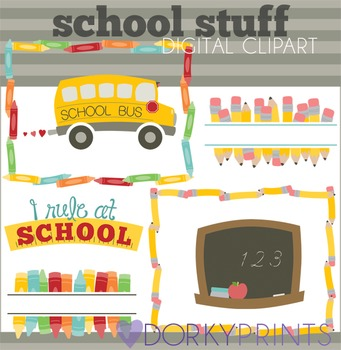 Back to School Clipart - Frames, School Bus, Headers