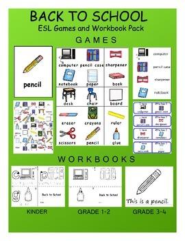Back to School ESL Workbook & Games Package