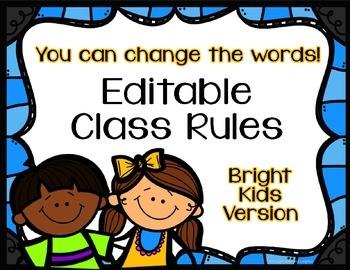 Editable Class Rules - Bright Kids Theme