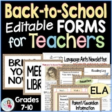 Back to School Editable Teacher Forms Syllabus, Open House