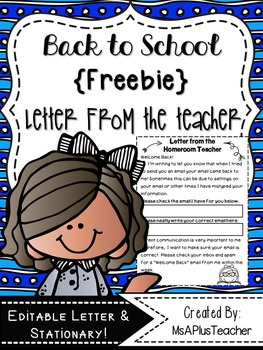 Back to School Email Letter & Stationary