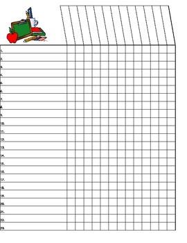 Back to School Excel spread sheet