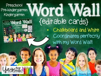 Back to School - FREE Editable Word Wall Cards/Labels {pre
