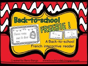 "{Back-to-School FREEBIE!} ""Dans mon sac à dos"" French inte"