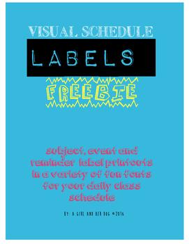 Back to School FREEBIE - Visual Daily Schedule Labels - Su
