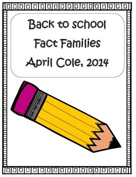 Back to School Fact Families Practice