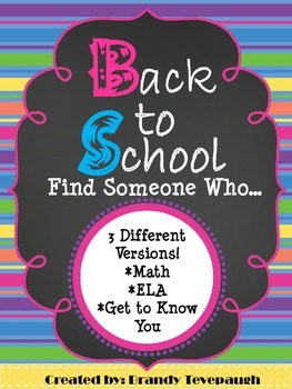 Back to School Find Someone Who...