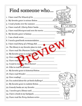"""Back to School """"Find Someone Who..."""" activity for the read"""