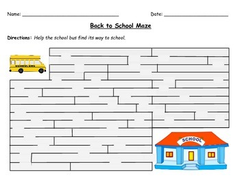 Back to School ~ First Day Activity~ Maze for Grades 1-3