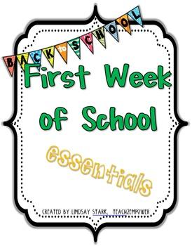 Back to School: First Week of School ESSENTIALS! K-5