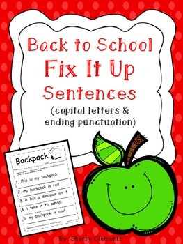Back to School: Fix It Up Sentences (capital letters and e