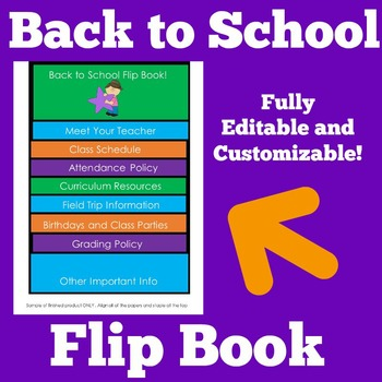 Back to School Flip Book | Editable Flip Book | Customizab