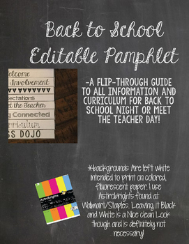 Back-to-School Foldable (editable)