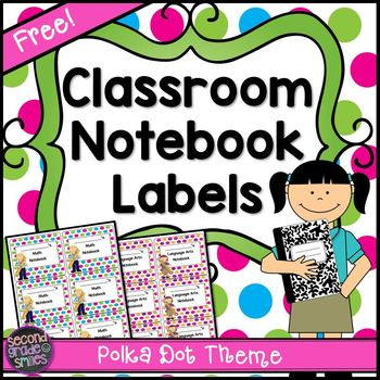 Free Classroom Notebook Labels in a Polka Dot Theme