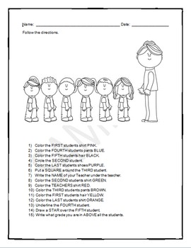 Back to School:  Follow Direction Worksheets