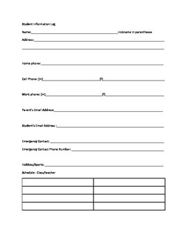 Free Back to School Freebie: Student Information Sheet and