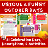 Fun Days of October Calendar Activities