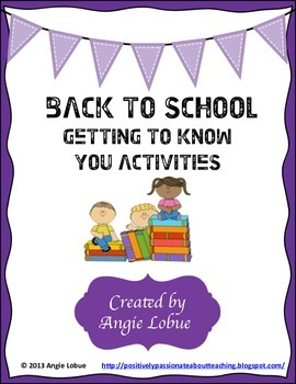 Back to School - Three Fun Getting To Know You Activities/