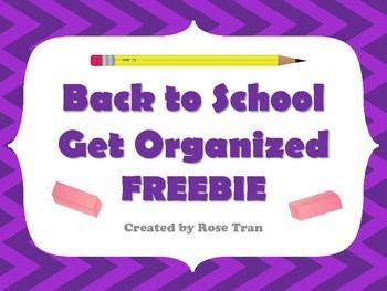 FREEBIE  School Supply Labels GET ORGANIZED!