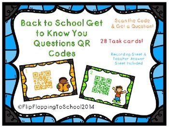 Back to School Get to Know You Questions, Task Cards with