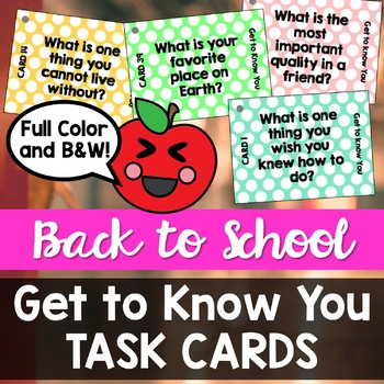 Back to School: Get to Know You TASK CARDS