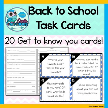 Back to School - Get to Know You Task Cards